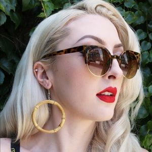 Natural Bamboo Large Hoop Earrings